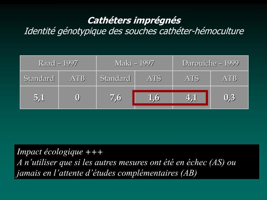 Cathéters imprégnés