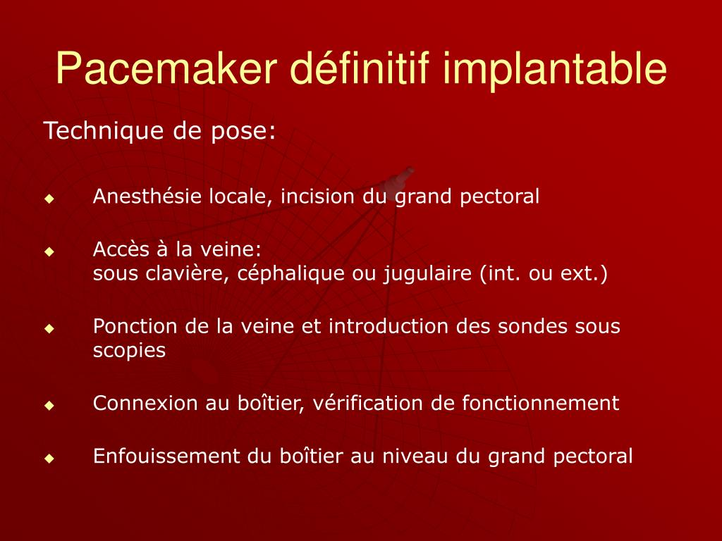 Ppt pace makers powerpoint presentation id 235707 - Infection chambre implantable ...