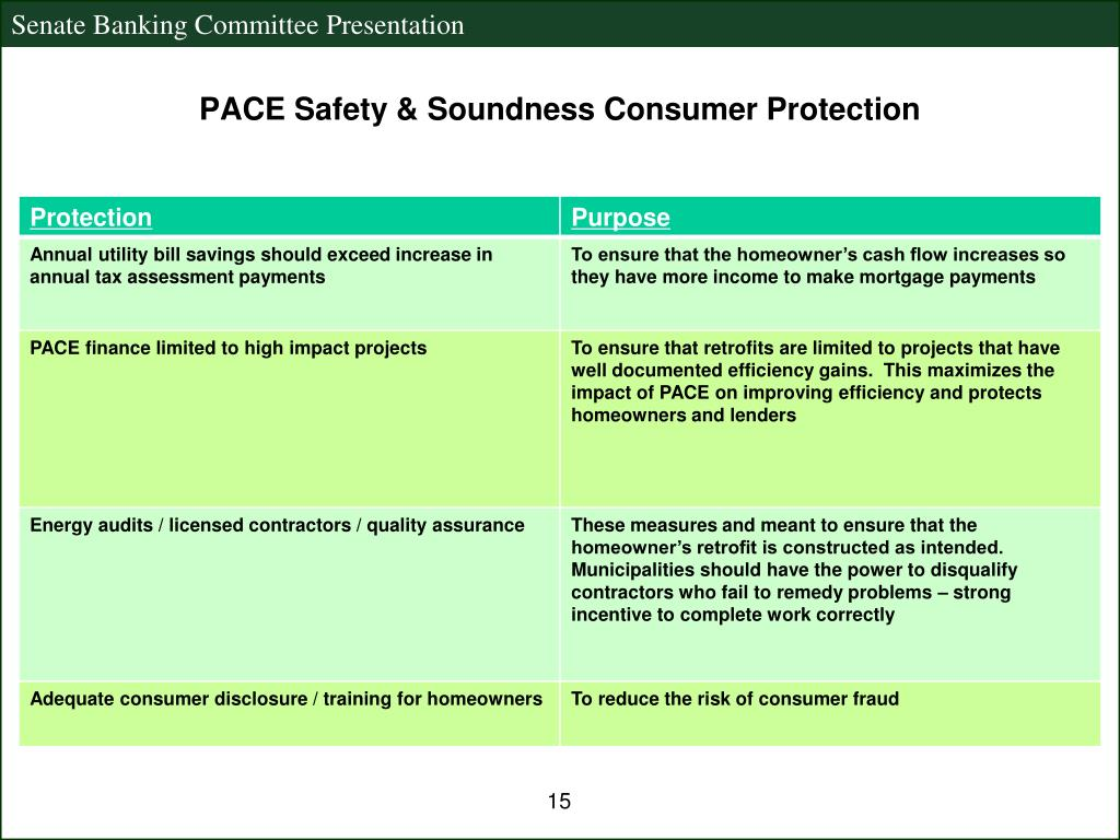 PACE Safety & Soundness Consumer Protection