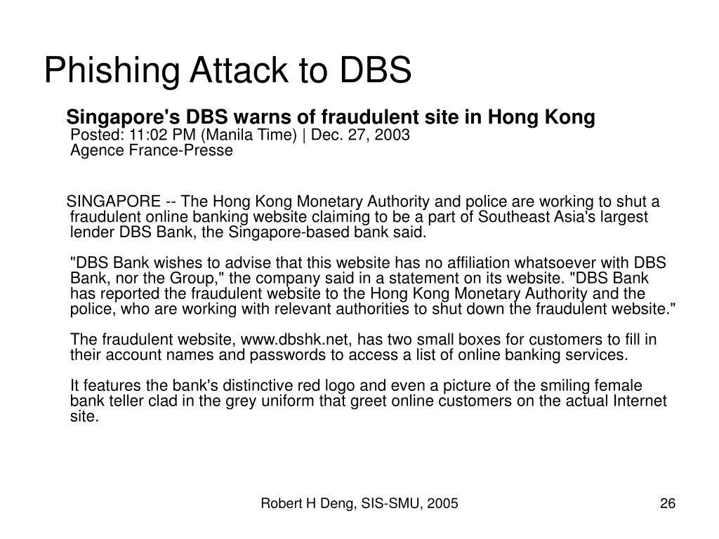 Phishing Attack to DBS