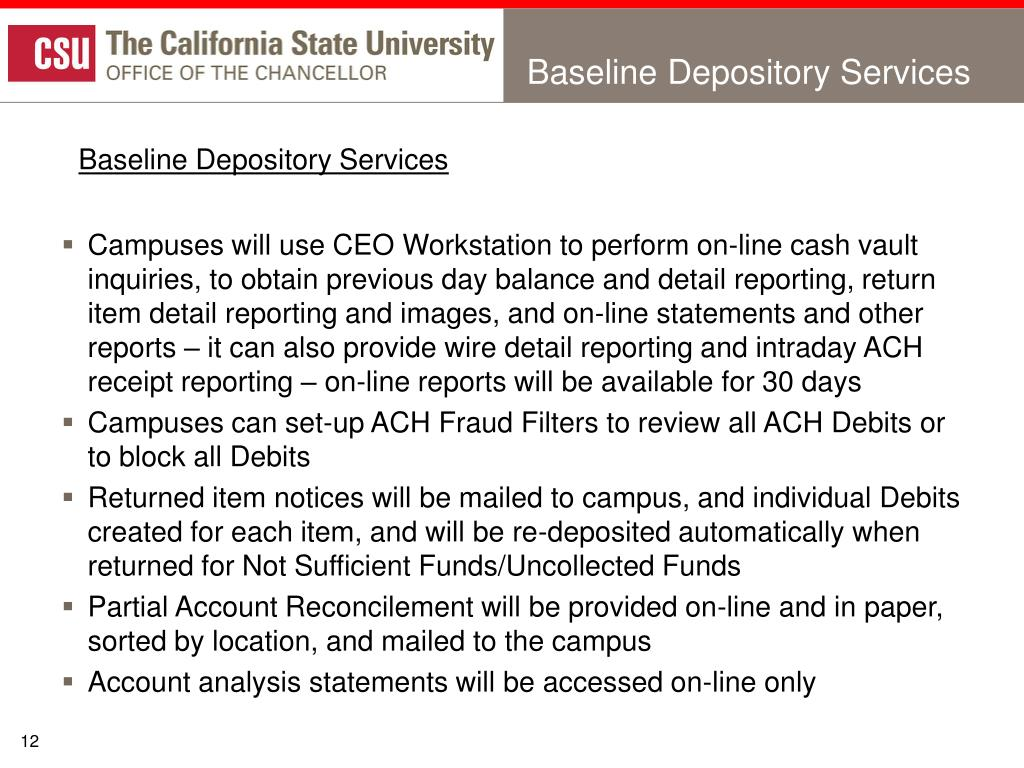 Baseline Depository Services