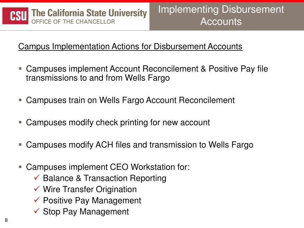Implementing Disbursement Accounts