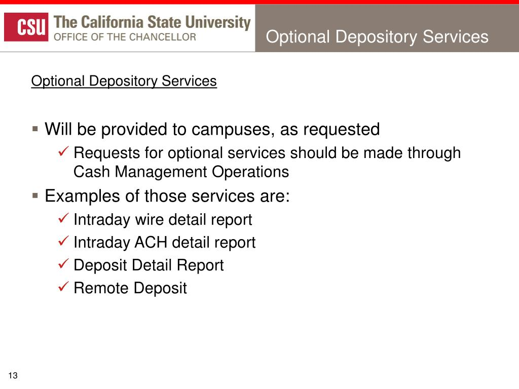 Optional Depository Services