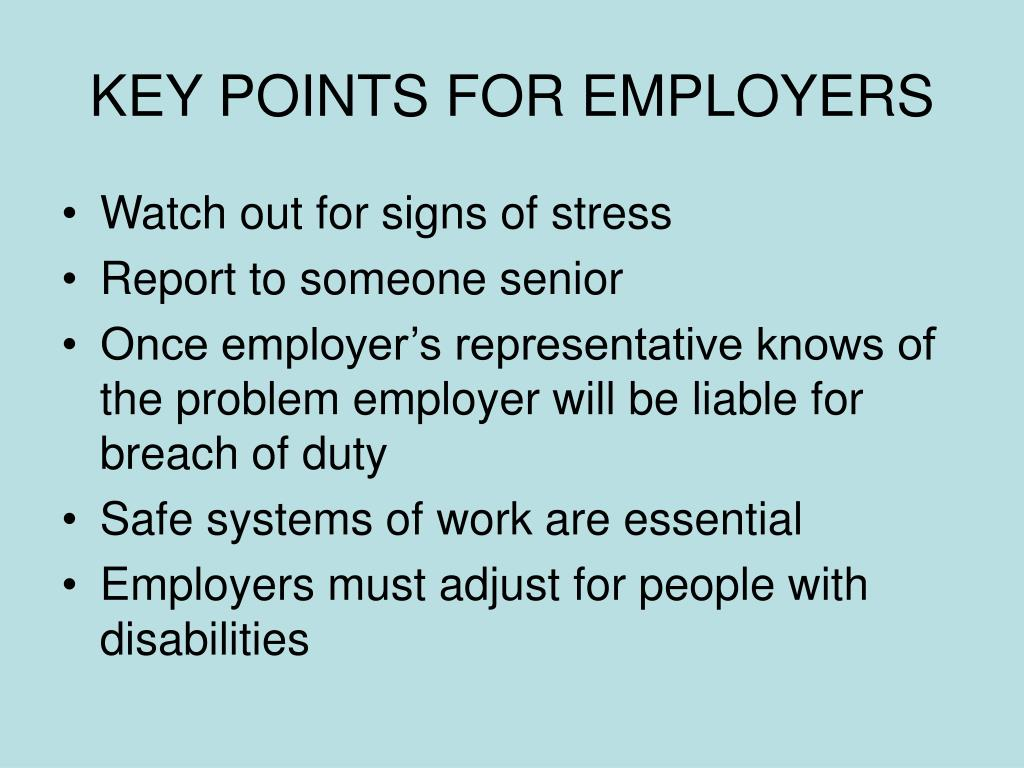 KEY POINTS FOR EMPLOYERS