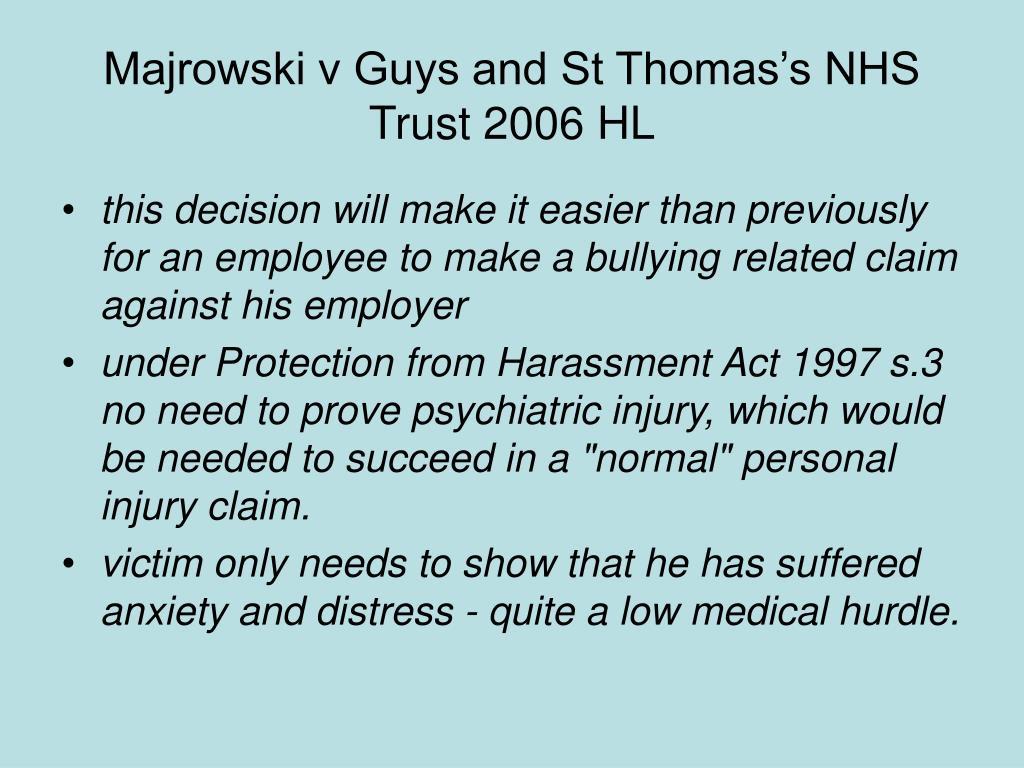 Majrowski v Guys and St Thomas's NHS Trust 2006 HL