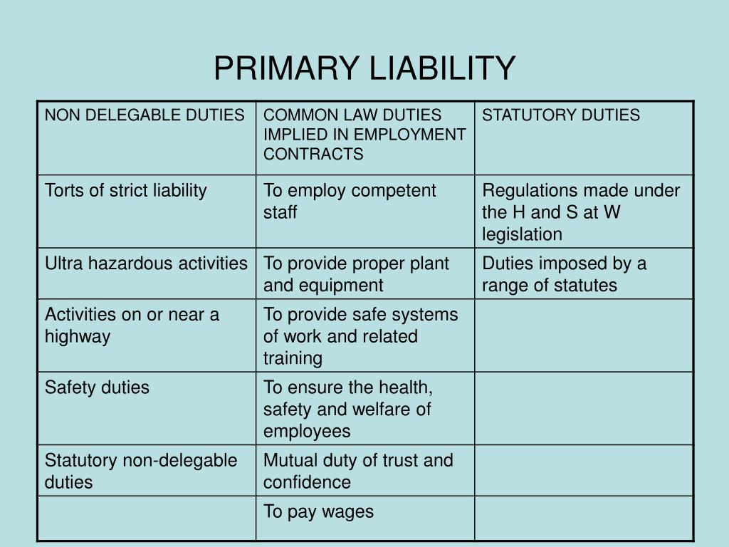PRIMARY LIABILITY