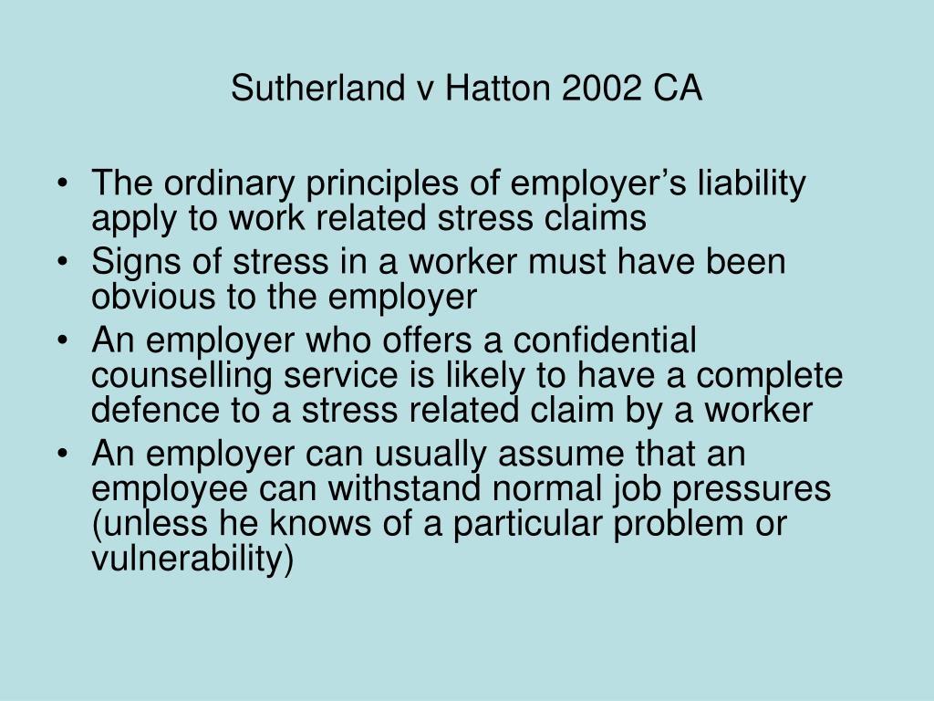 Sutherland v Hatton 2002 CA