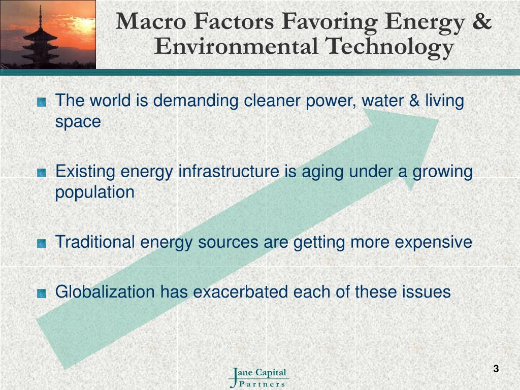Macro Factors Favoring Energy & Environmental Technology