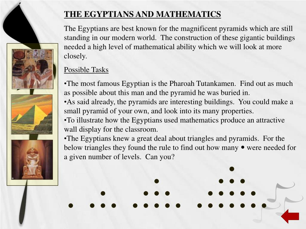 THE EGYPTIANS AND MATHEMATICS