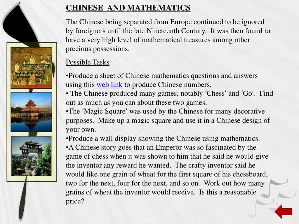 CHINESE  AND MATHEMATICS