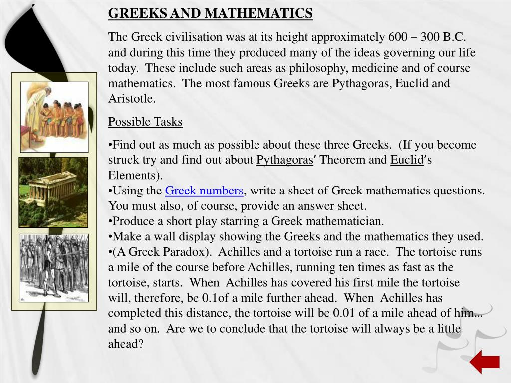 GREEKS AND MATHEMATICS