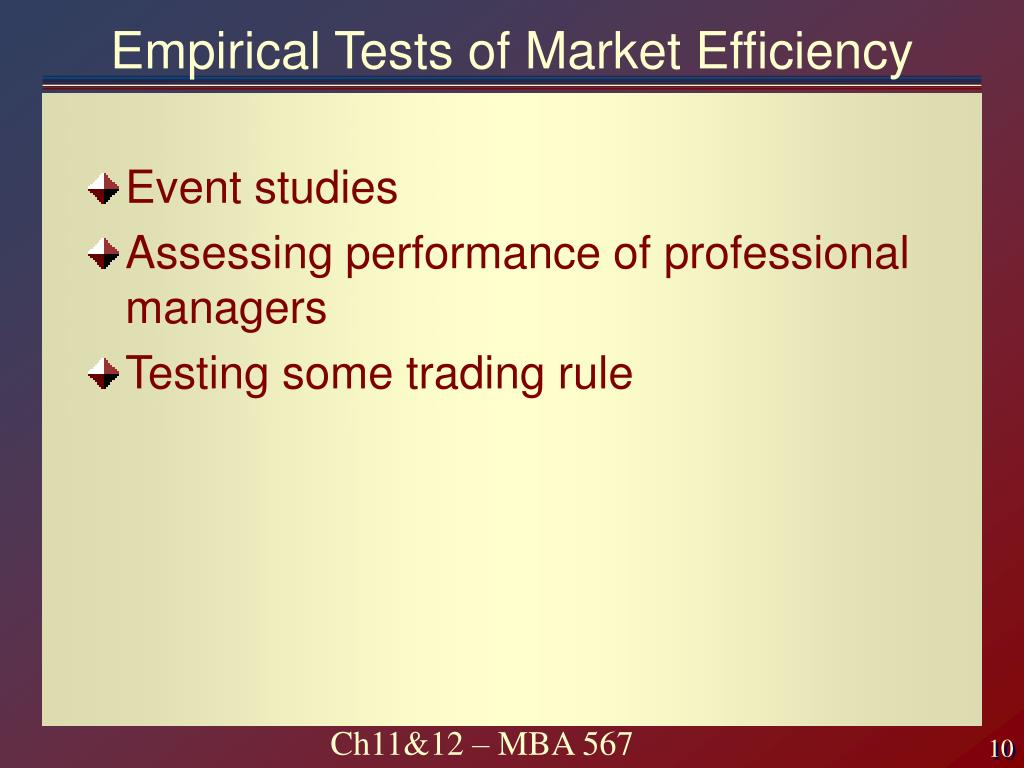 Empirical Tests of Market Efficiency