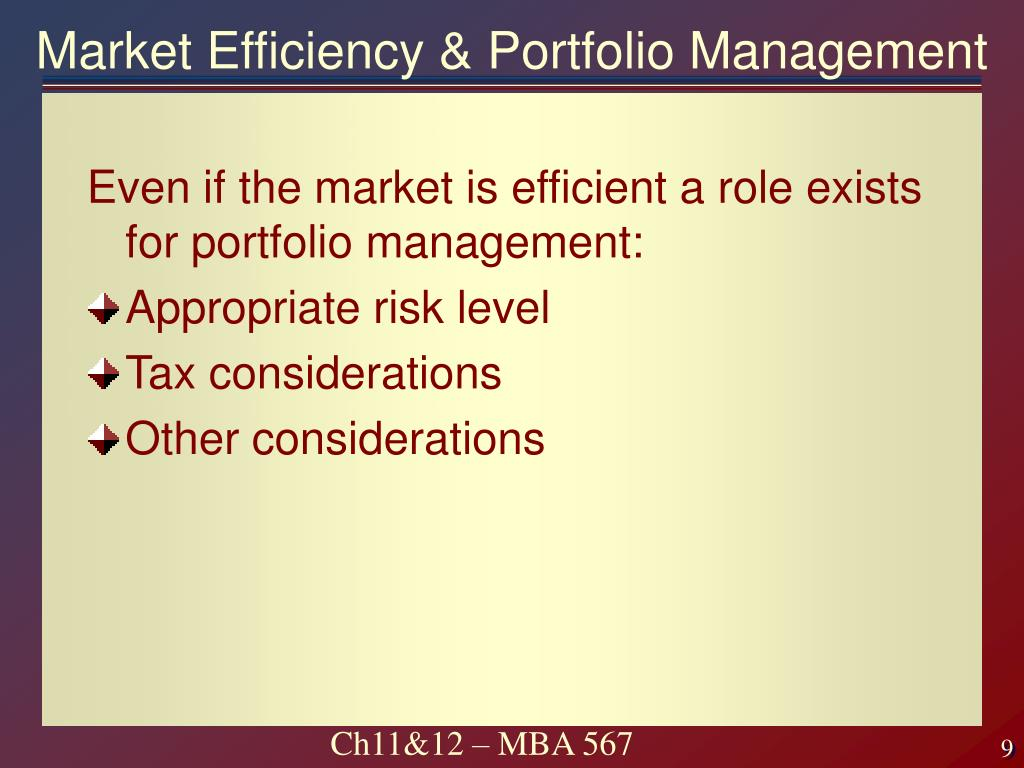 Market Efficiency & Portfolio Management