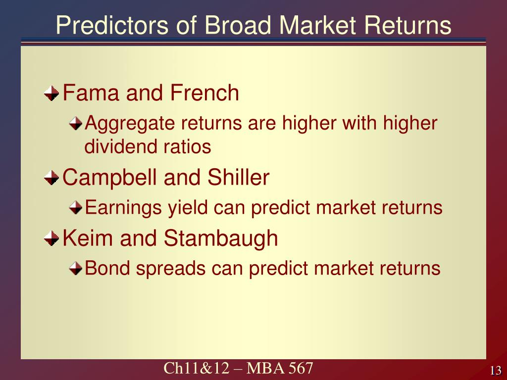 Predictors of Broad Market Returns
