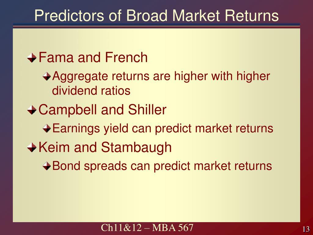 Predictors of Broad Market Returns