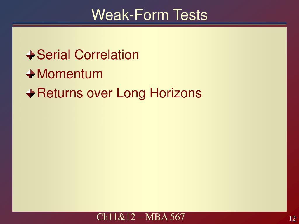 Weak-Form Tests