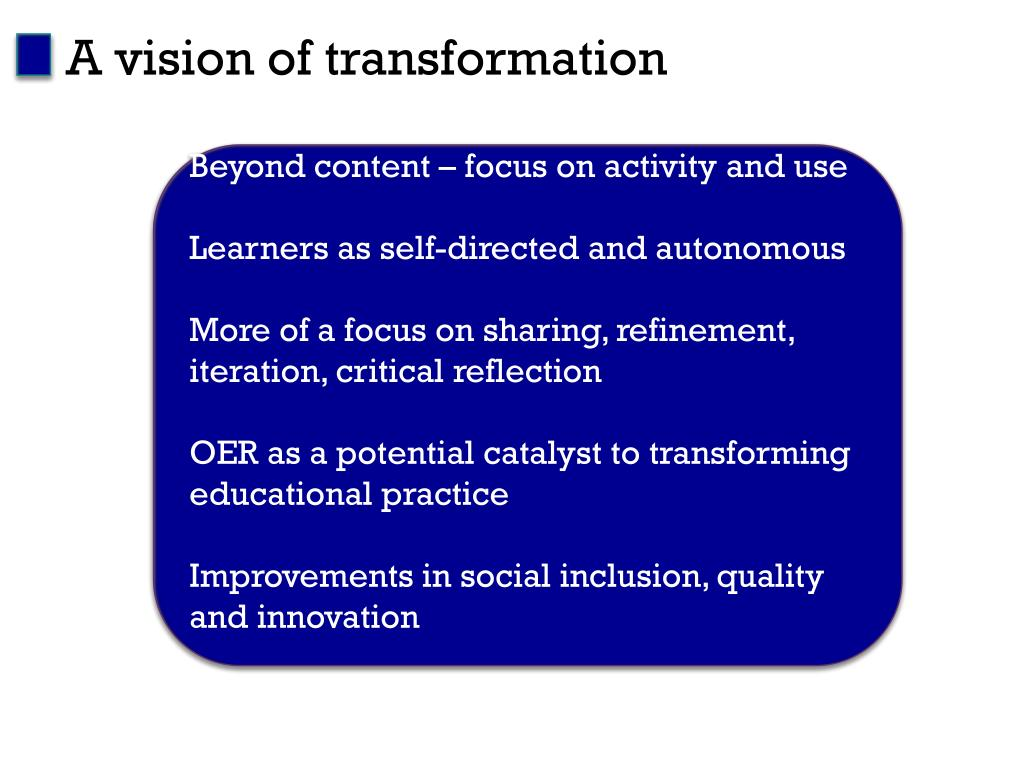 A vision of transformation