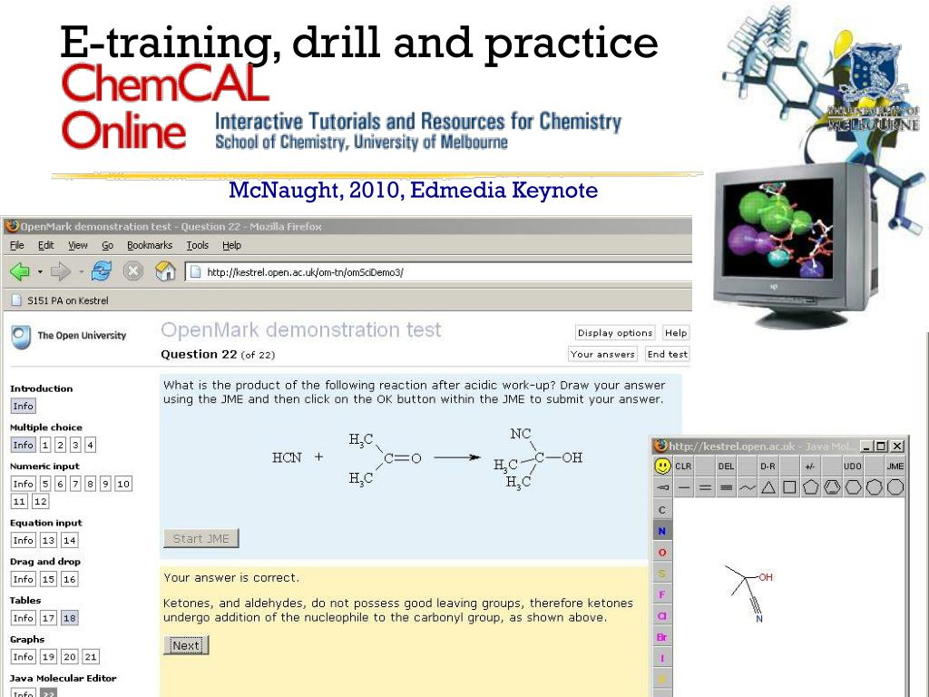 E-training, drill and practice