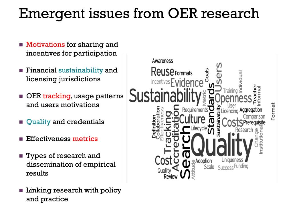 Emergent issues from OER research