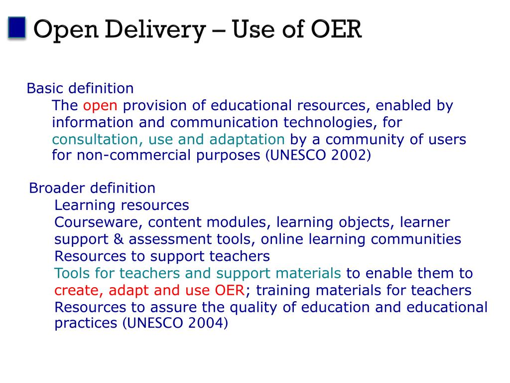 Open Delivery – Use of OER