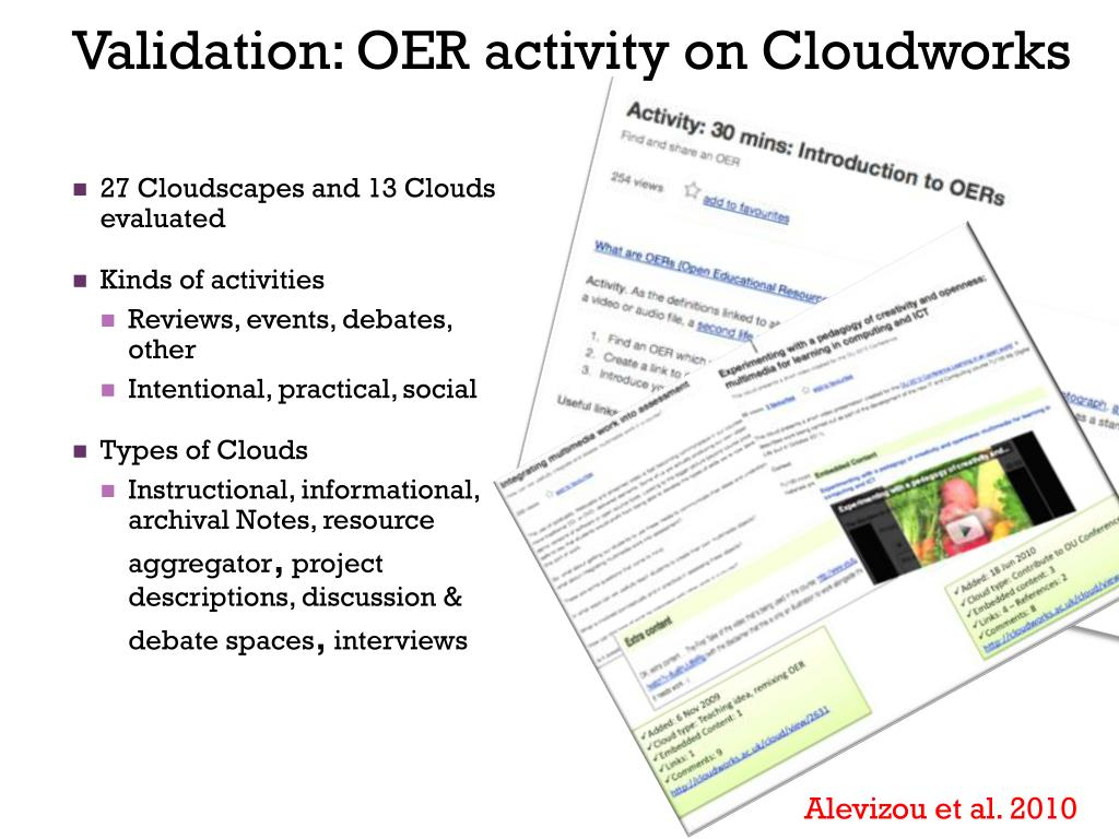 Validation: OER activity on Cloudworks