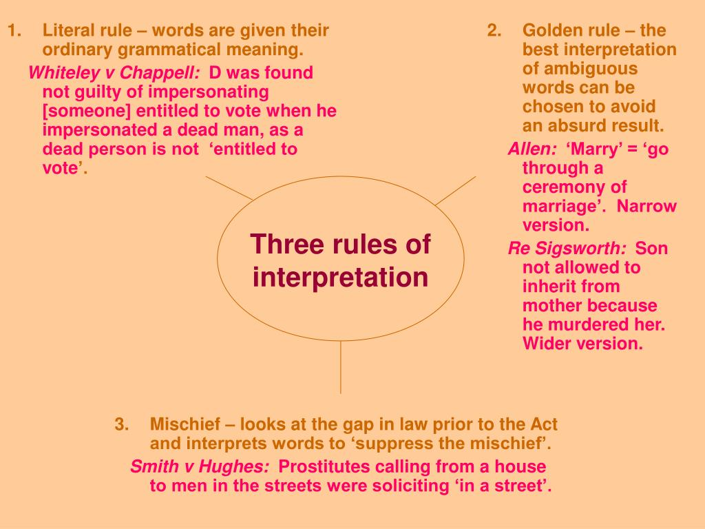Literal rule – words are given their ordinary grammatical meaning.