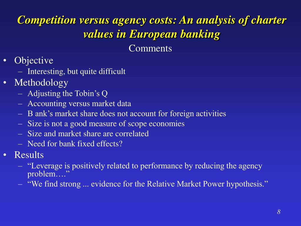 Competition versus agency costs: An analysis of charter values in European banking