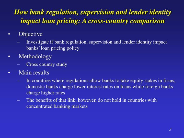 How bank regulation supervision and lender identity impact loan pricing a cross country comparison
