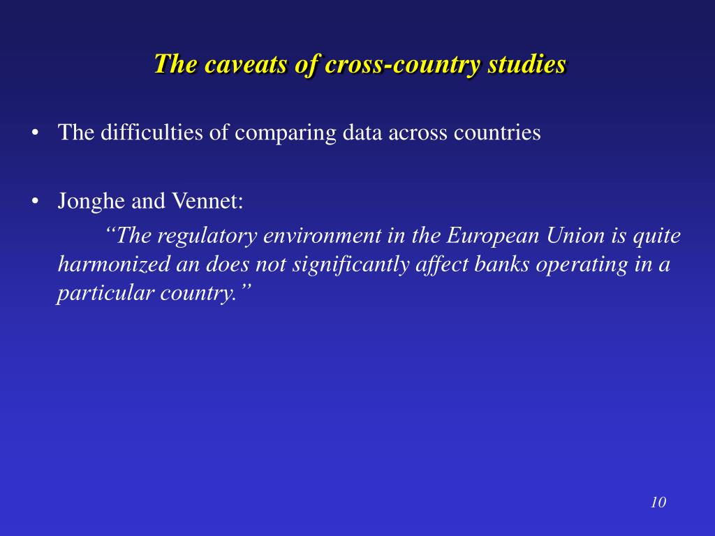 The caveats of cross-country studies