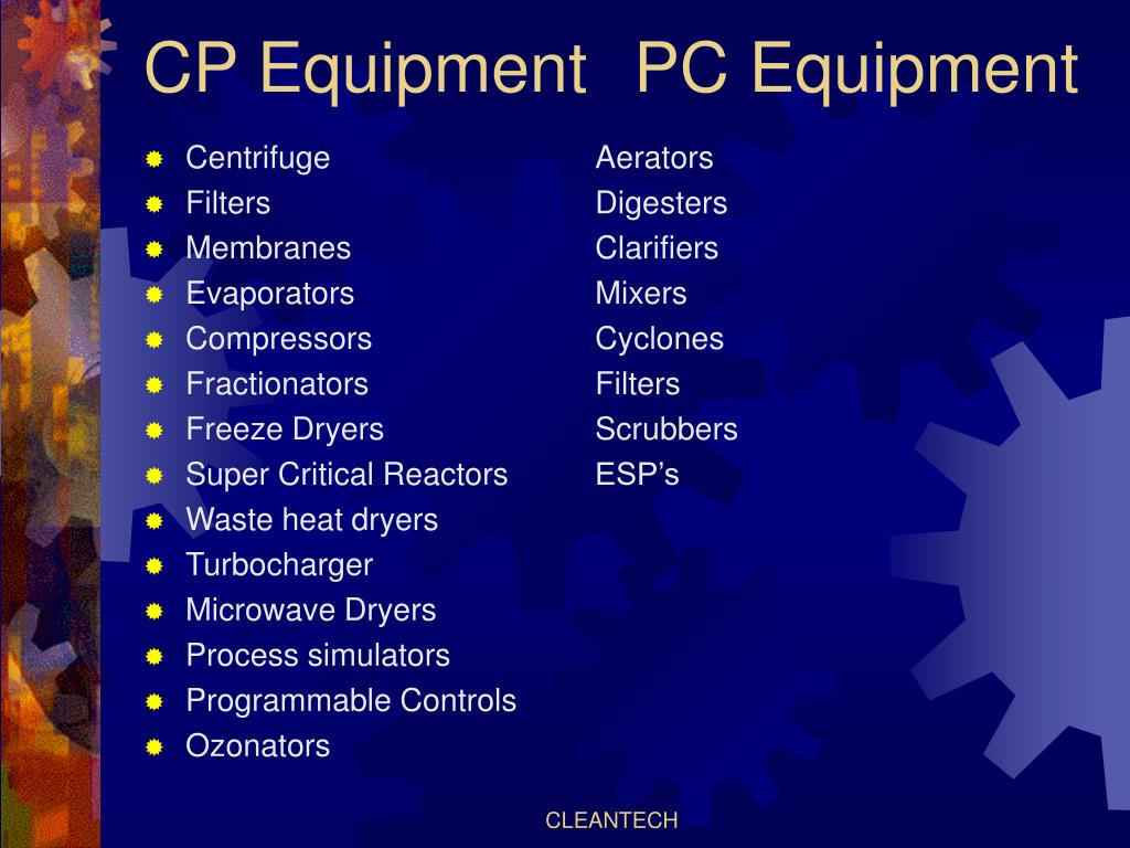 CP Equipment	  PC Equipment