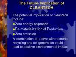 the future implication of cleantech