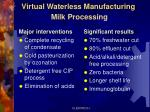 virtual waterless manufacturing milk processing