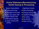 virtual waterless manufacturing textile dyeing processing