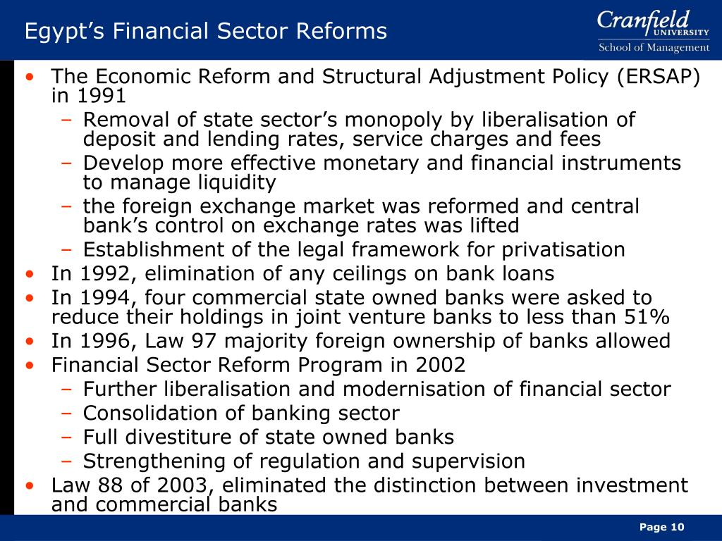 Egypt's Financial Sector Reforms