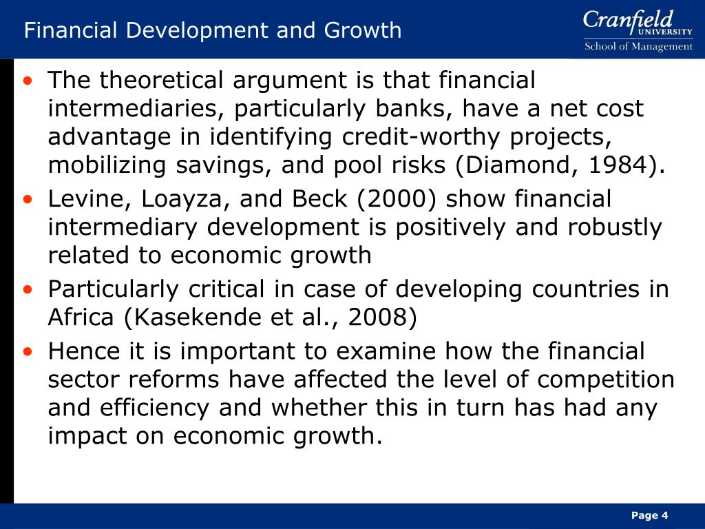 Financial Development and Growth