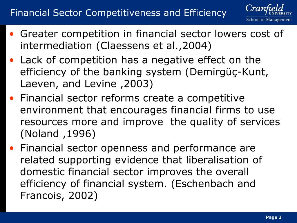 Financial Sector Competitiveness and Efficiency