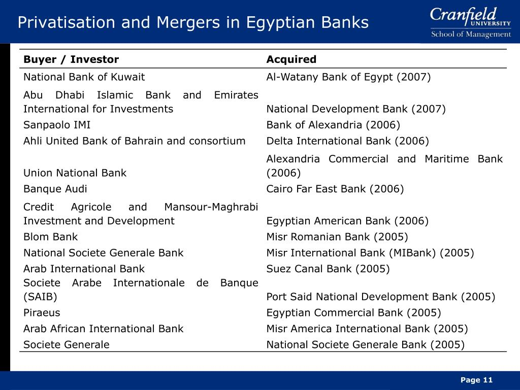 Privatisation and Mergers in Egyptian Banks