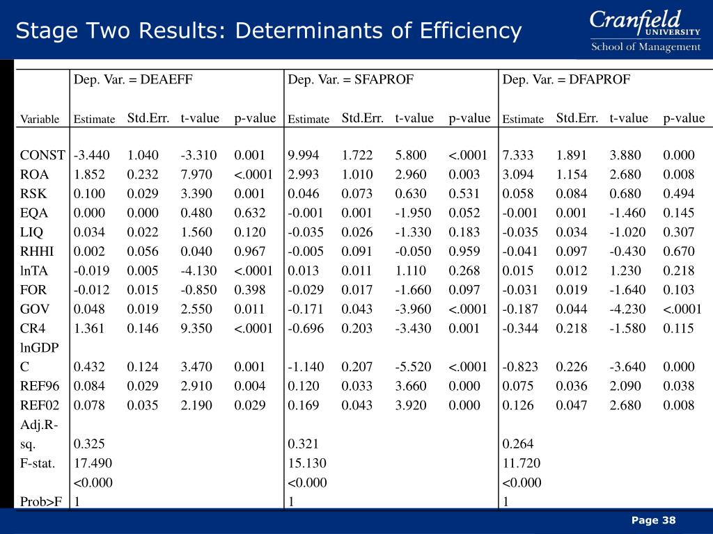 Stage Two Results: Determinants of Efficiency