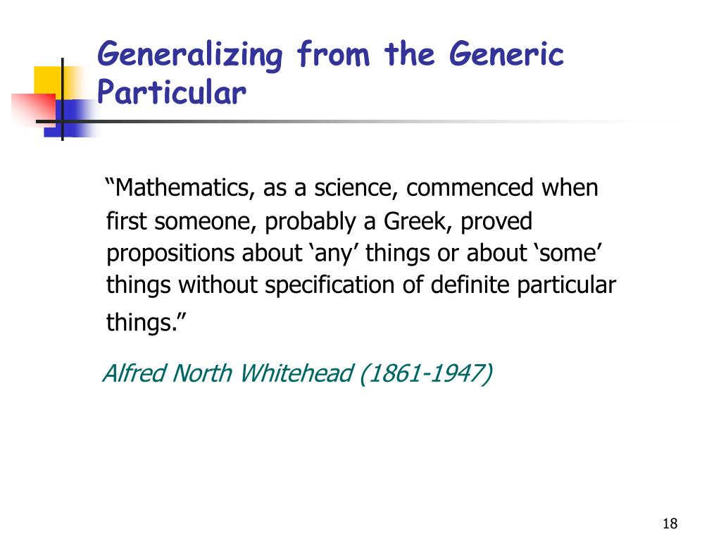 Generalizing from the Generic Particular