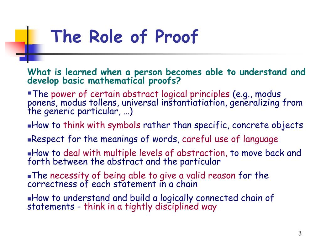 The Role of Proof