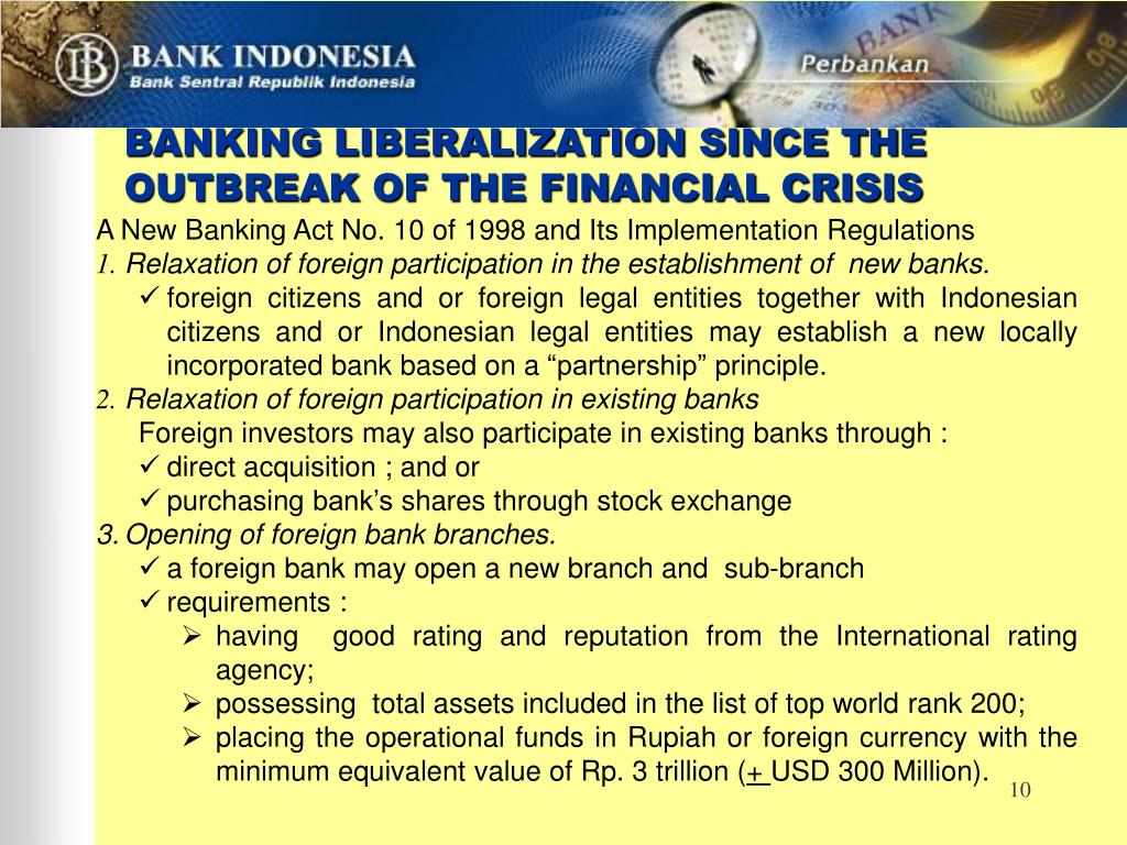 BANKING LIBERALIZATION SINCE THE OUTBREAK OF THE FINANCIAL CRISIS