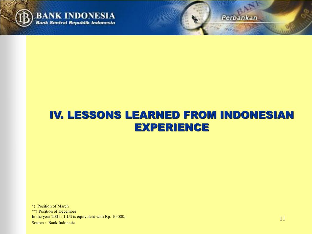 IV. LESSONS LEARNED FROM INDONESIAN EXPERIENCE