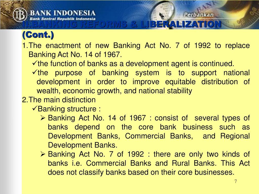 II.BANKING REFORMS & LIBERALIZATION