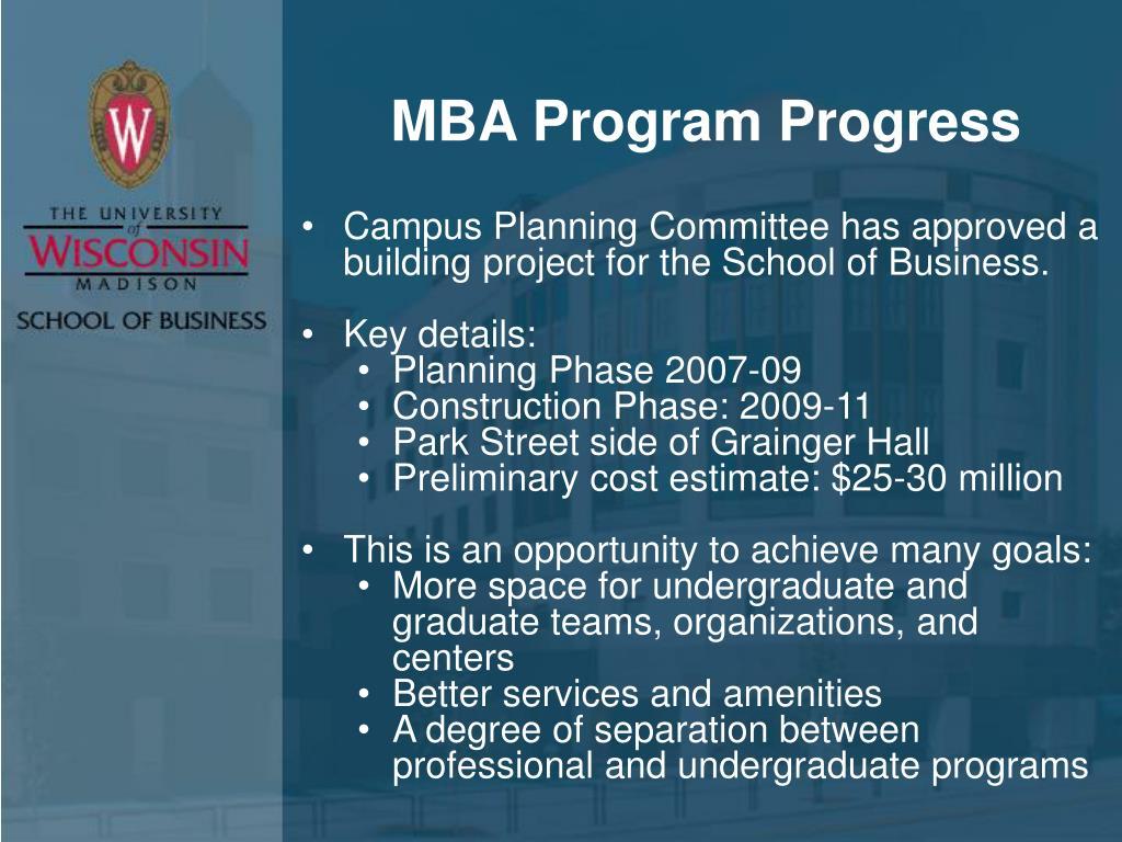 MBA Program Progress