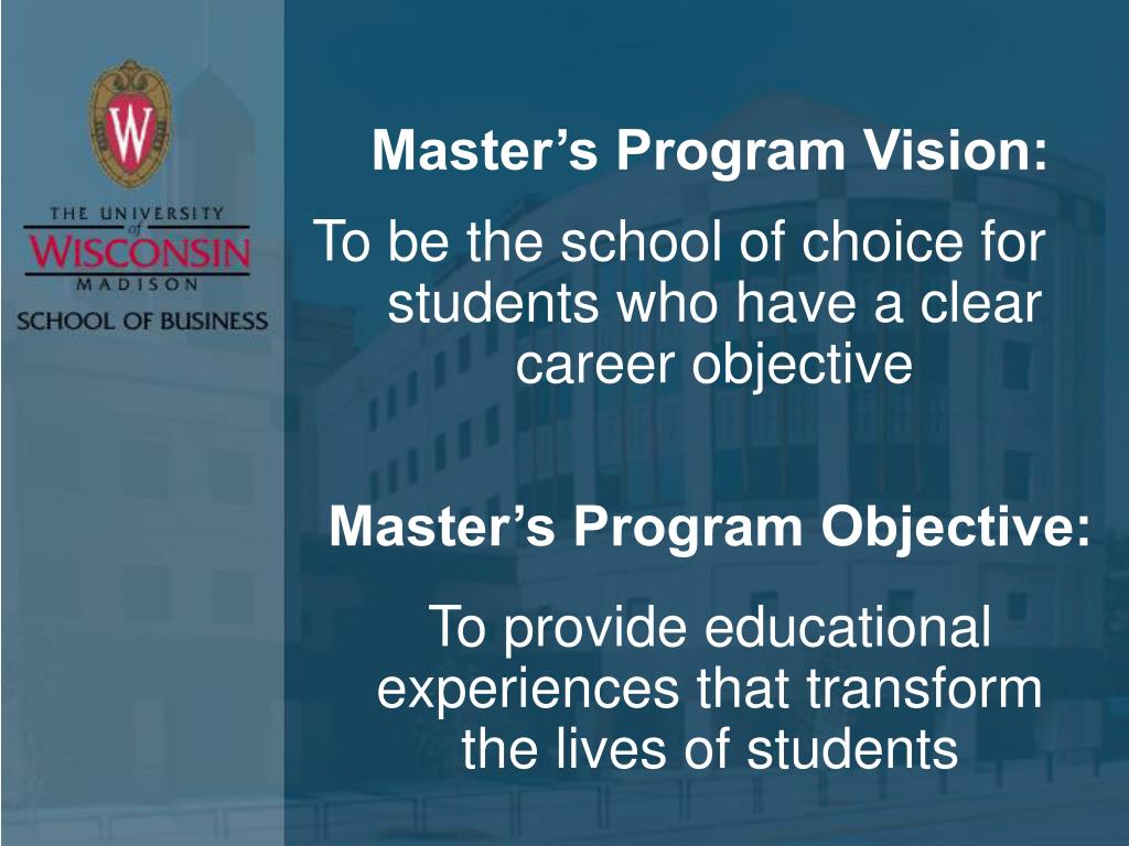 Master's Program Vision: