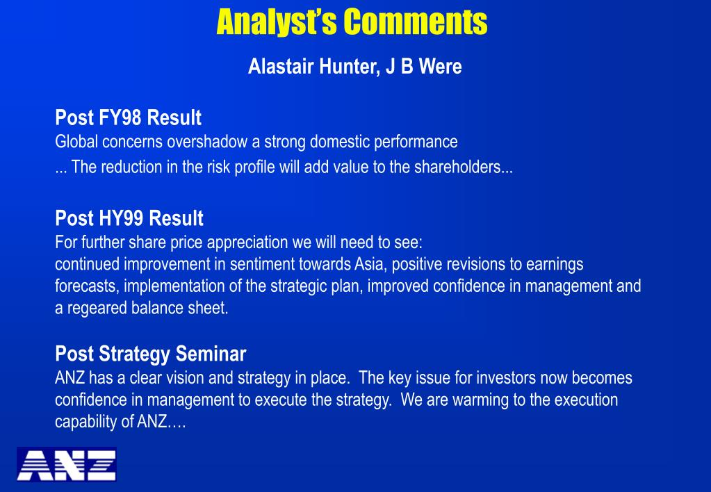 Analyst's Comments
