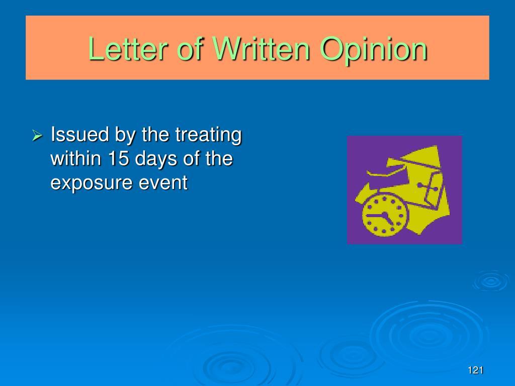 Letter of Written Opinion