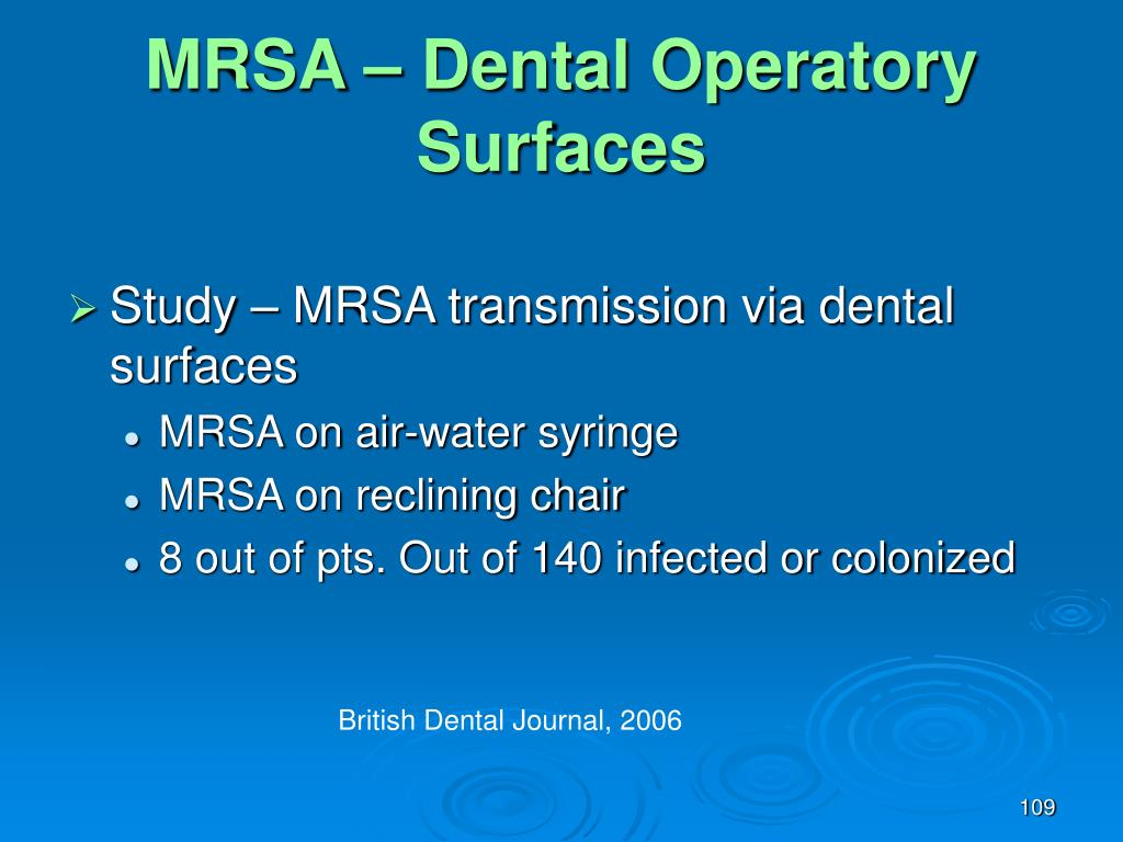 MRSA – Dental Operatory Surfaces