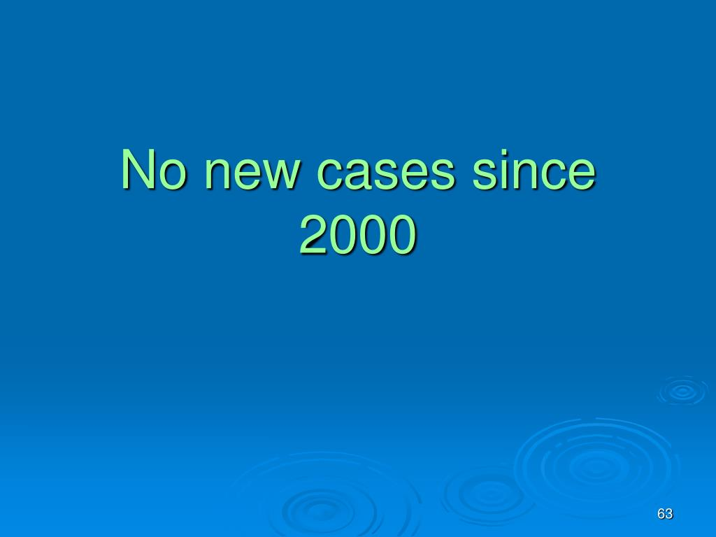 No new cases since 2000