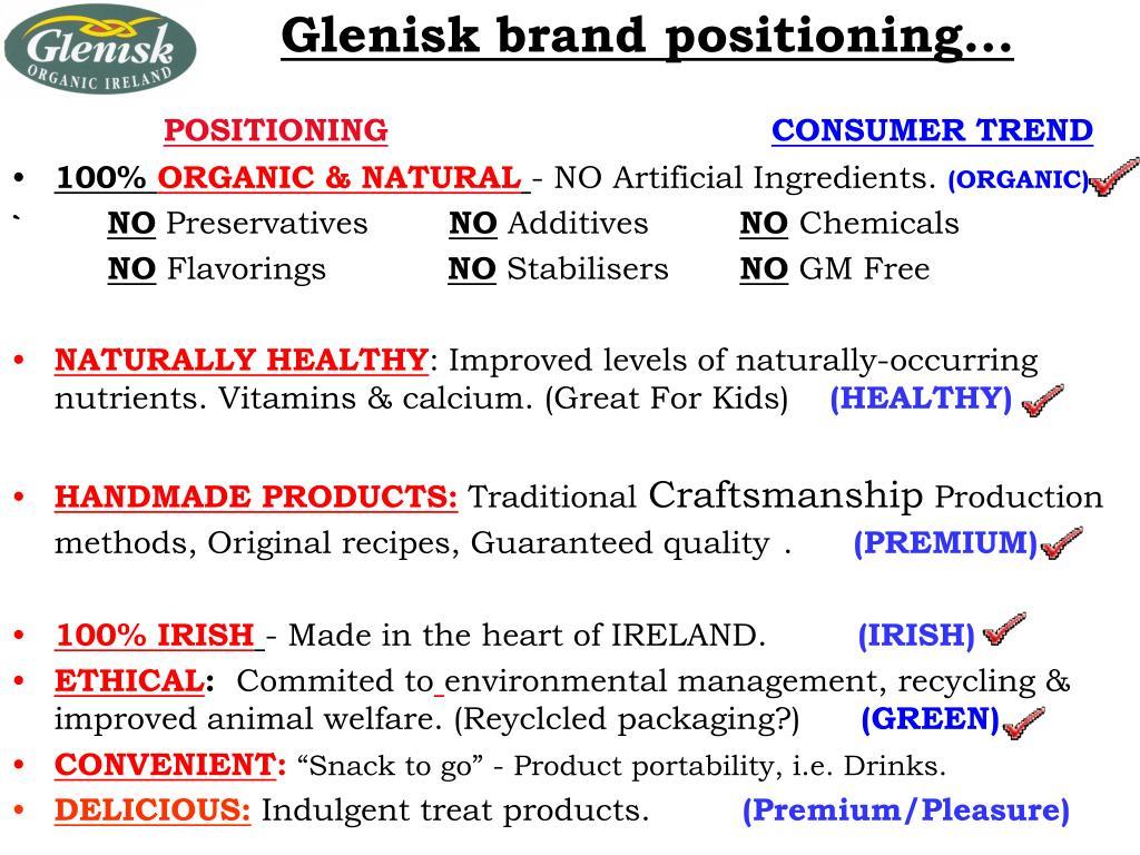 Glenisk brand positioning...